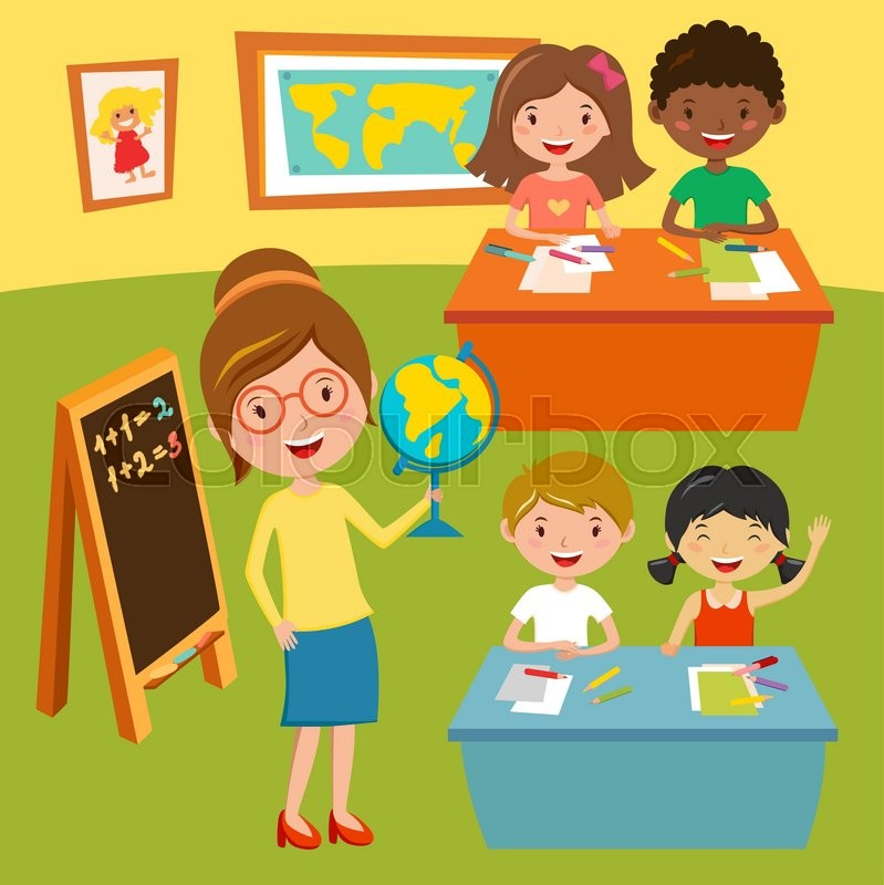 Kids school or baby club lessons. Geographic teacher at
