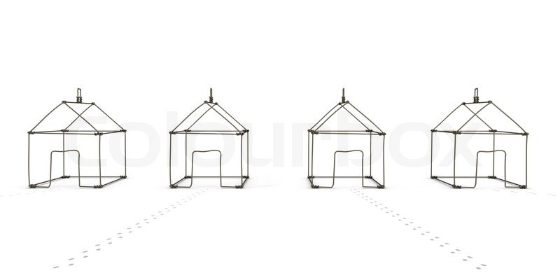 Model House of wire. Isolated on white   Stock Photo   Colourbox