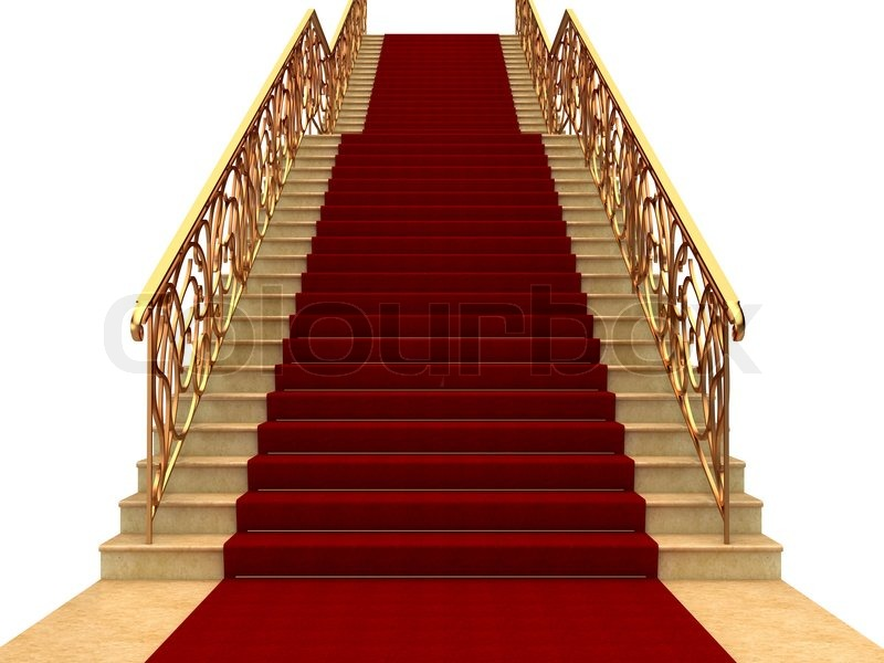 Flights Of Stairs With Railings And Carpet Stock Photo