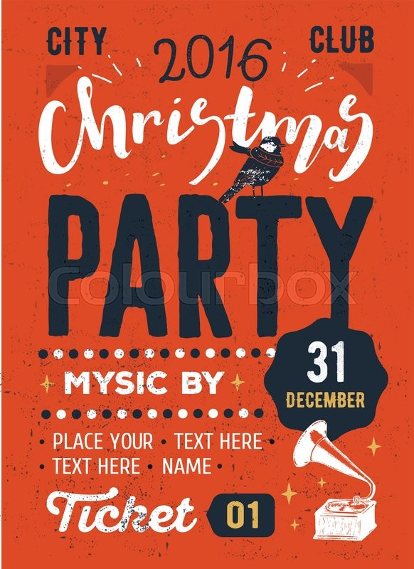 christmas party retro typography poster christmas hand made lettering flyer design vector illustration eps 10 stock vector colourbox