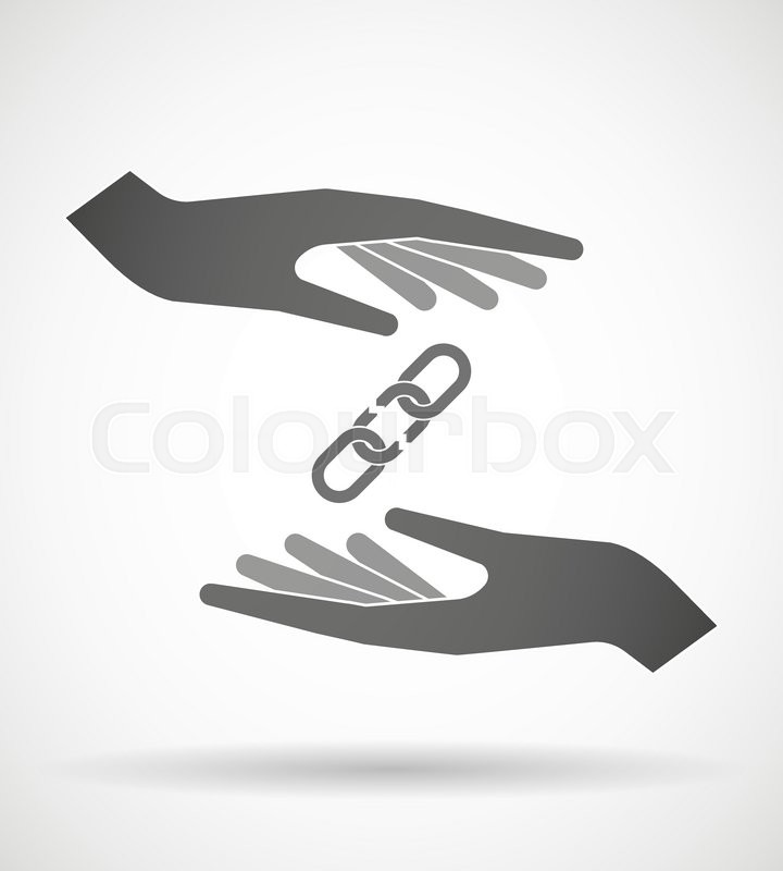Illustration Of Wo Hands Protecting Or Giving A Broken Chain