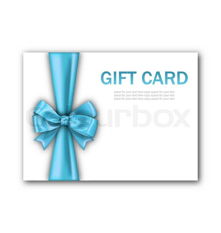 Illustration decorated gift card with blue ribbon and bow gift illustration decorated gift card with blue ribbon and bow gift voucher template certificate design vector stock vector colourbox yadclub Images