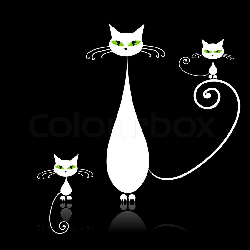 Stock vector of 'Family cats, mother with children, white cat with green eyes on black'