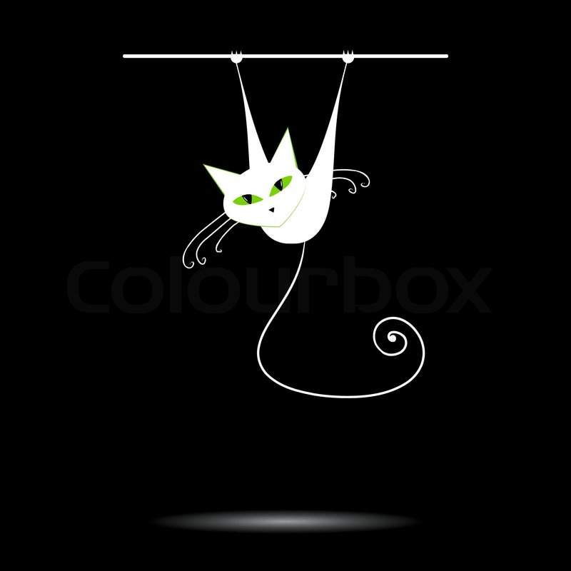 White Cat With Green Eyes On Black Stock Vector Colourbox