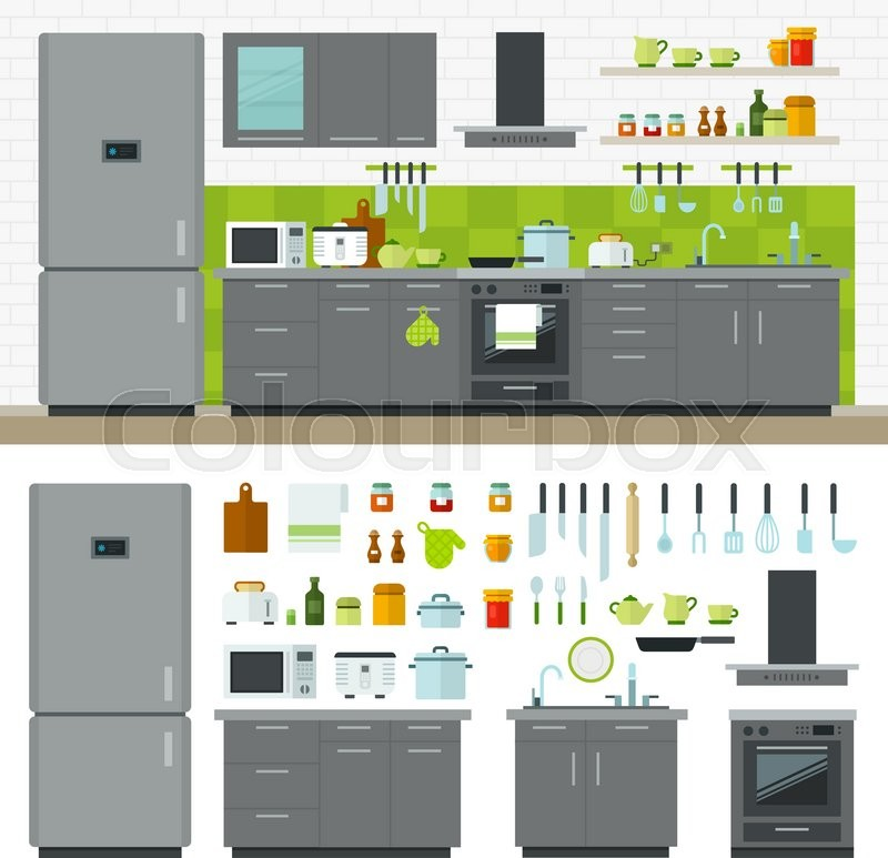 Cartoon Kitchen Furniture: Concept Of Modern Kitchen. Flat Horizontal Banners With