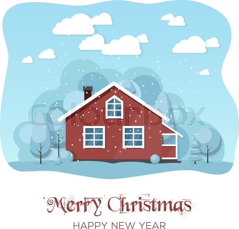 House In Winter Forest Christmas Card Background Poster Vector Illustration Eps 10