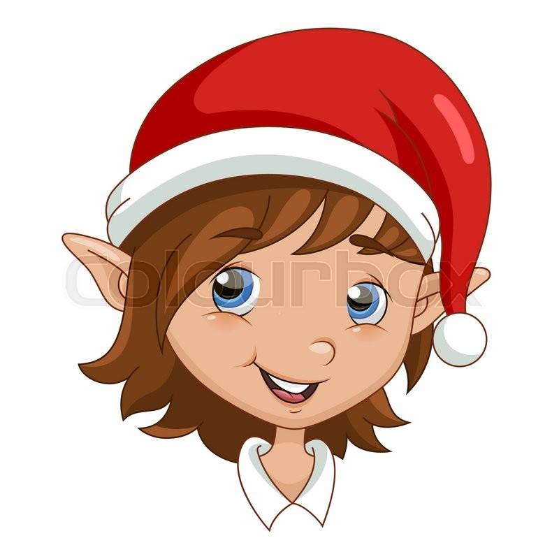 Christmas elf head. Vector illustration isolated on white ...