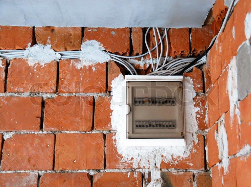 elektrischen anlagen sicherungen box auf backsteinwand stockfoto colourbox. Black Bedroom Furniture Sets. Home Design Ideas