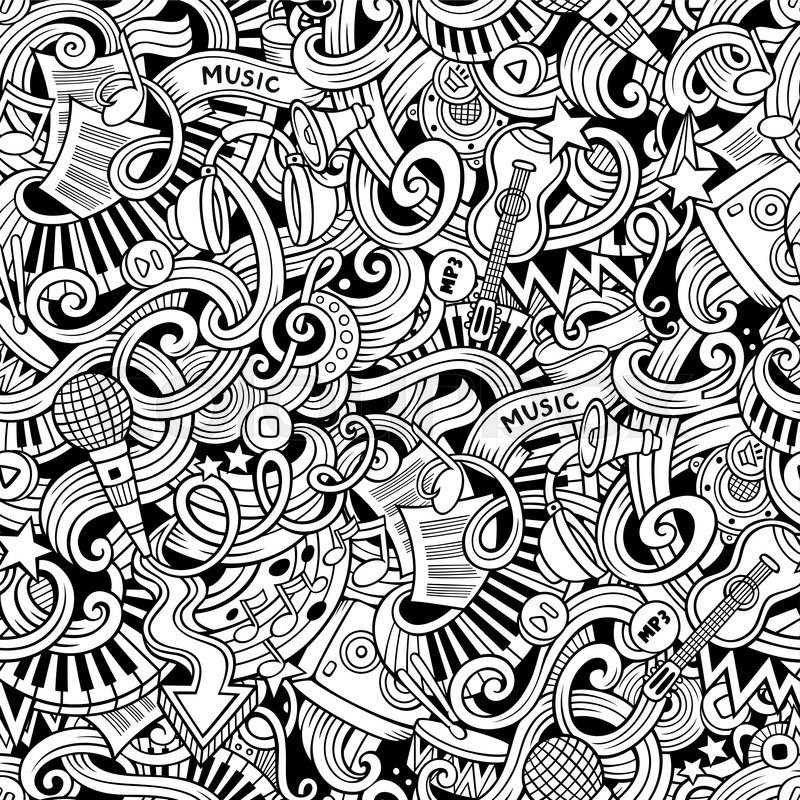Cartoon Hand Drawn Doodles On The Subject Of Music Style Theme Seamless Pattern Vector Line Art
