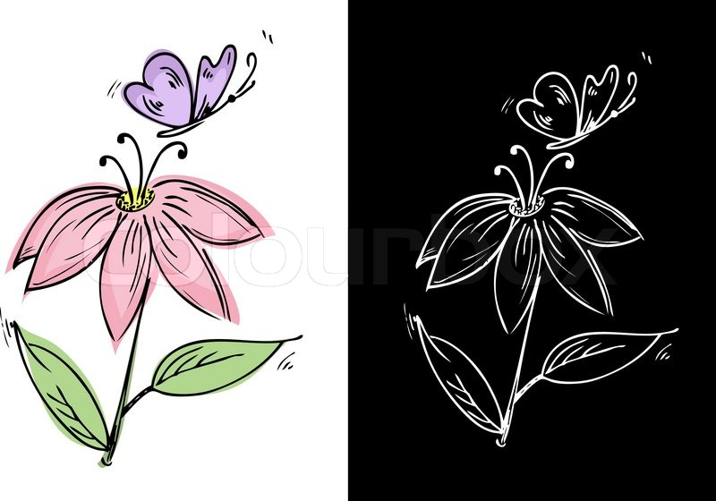 Drawing a flower with a butterfly stock vector colourbox