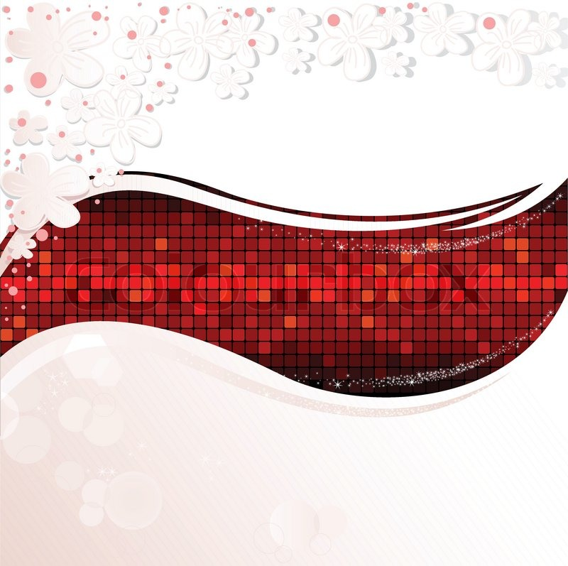 Abstract White Background With A Red Wave Of Shimmering