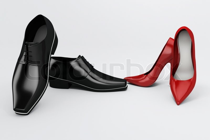 f337b809f5c Men s black shoes and women s red shoes ...