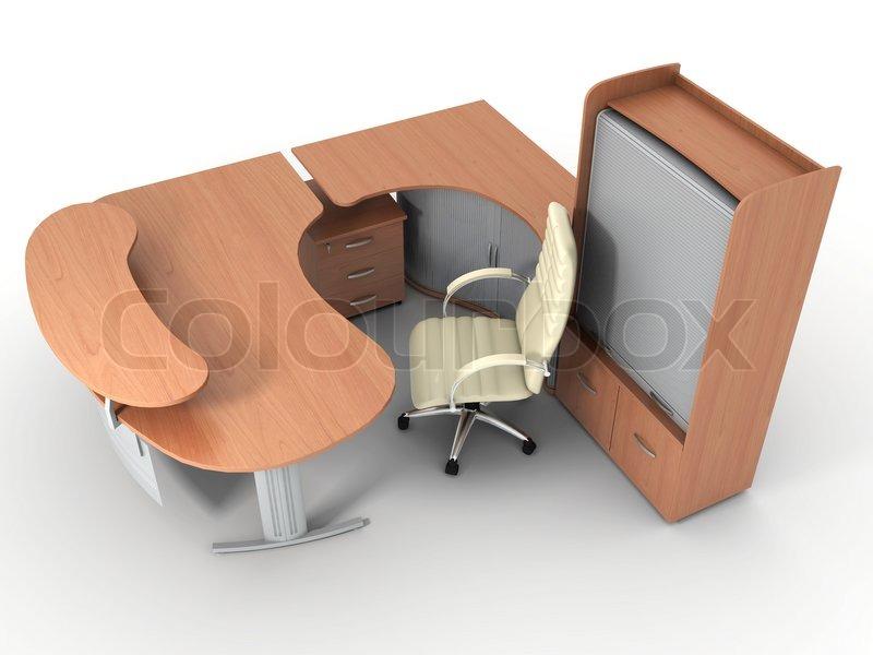 Büromöbel Set isoliert auf weißem Hintergrund | Stockfoto | Colourbox