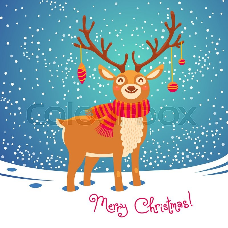 Christmas Card With Santa Reindeer Cute Cartoon Deer Scarf Merry Background Vector Illustration