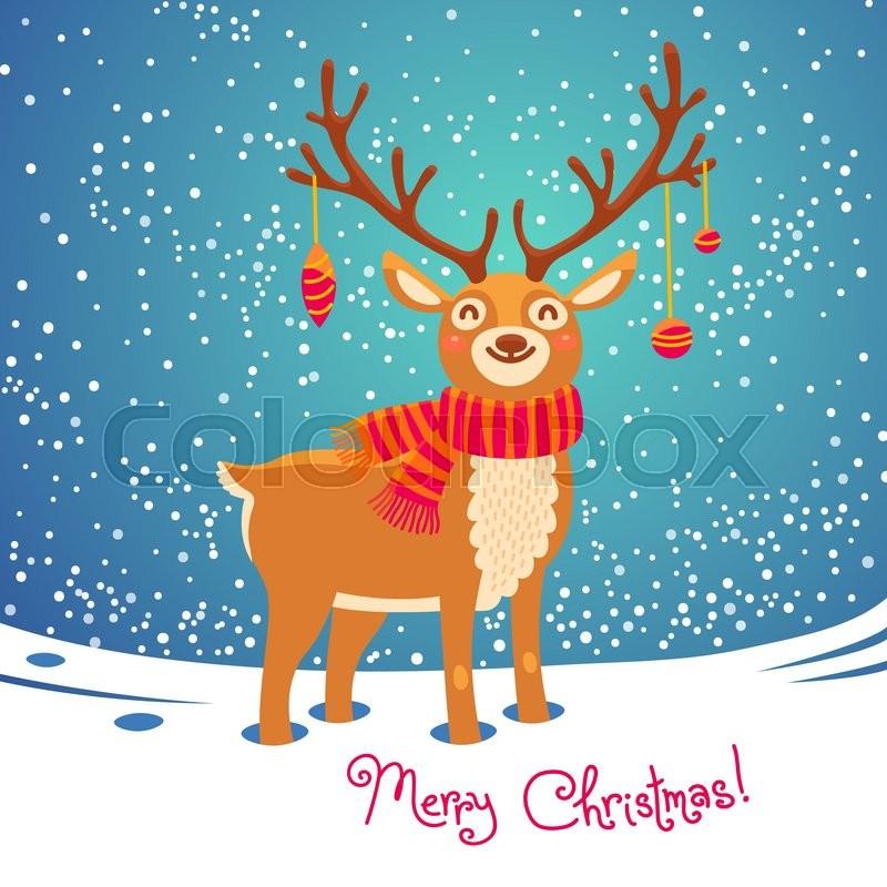 christmas card with christmas santa reindeer cute cartoon deer with scarf merry christmas background vector illustration vector - Santa Reindeer