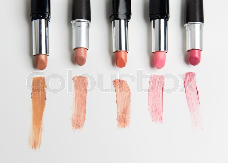 Cosmetics, makeup and beauty concept - close up of lipsticks range Stock Photo Colourbox