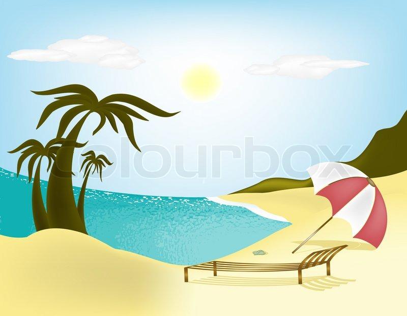 illustration meer strand palmen und liegest hle mit schirm stockfoto colourbox. Black Bedroom Furniture Sets. Home Design Ideas