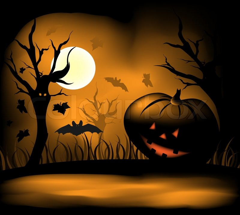 Halloween Background With Moon Bats And Pumpkin Stock