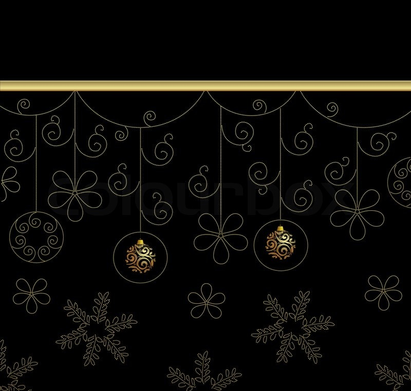 Christmas Black And Gold Background With Balls And