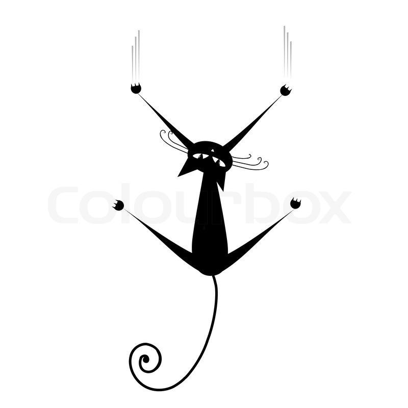 Schwarze Katze Silhouette Fr Ihr Design Vektorgrafik Colourbox