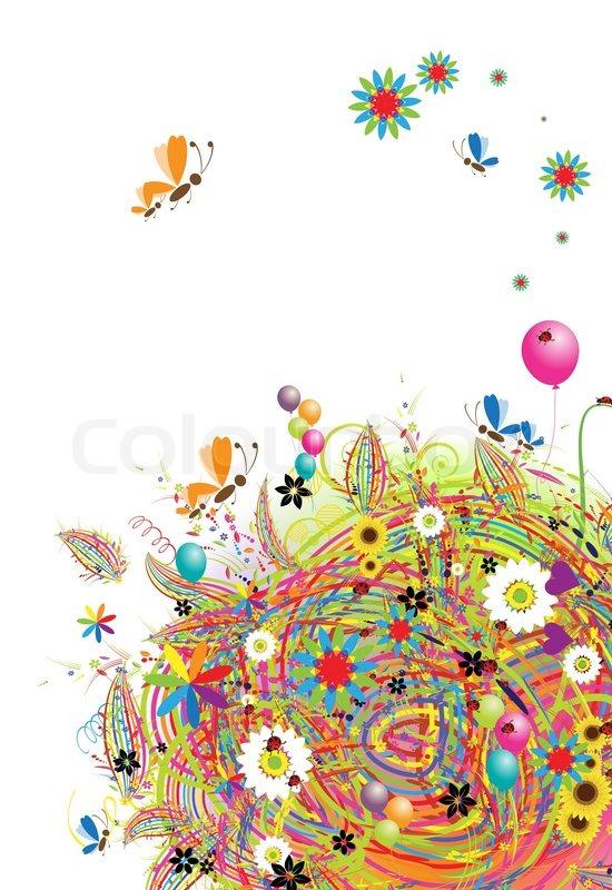 Schne Ferien Lustige Karte Mit Luftballons