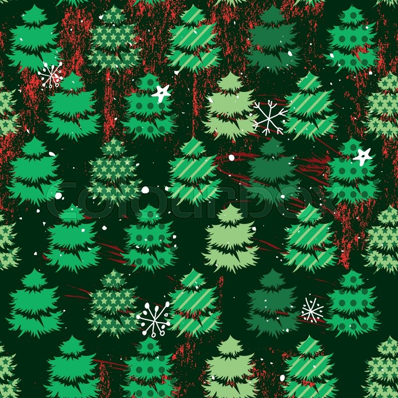 Seamless dark green pattern with traditional Christmas trees. For ...