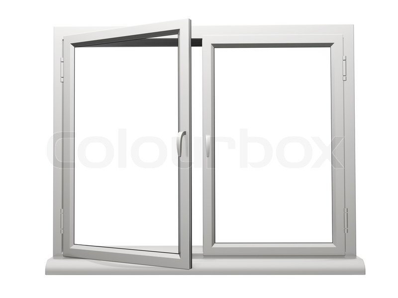 zwei frame kunststoff fenster ffnen stockfoto colourbox. Black Bedroom Furniture Sets. Home Design Ideas