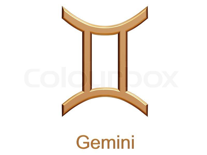 Gemini Golden Astrological Zodiac Symbol Isolated On White Stock
