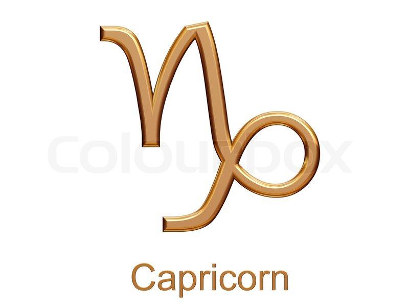 steinbock golden astrologischen sternzeichen symbol auf wei em hintergrund stock foto. Black Bedroom Furniture Sets. Home Design Ideas