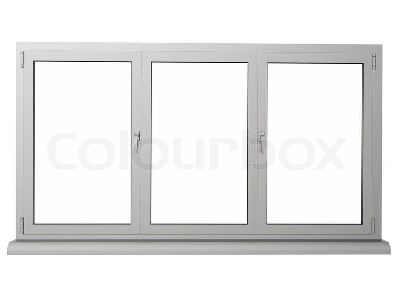 Zwei Schichten und drei Rahmen Kunststoff-Fenster isoliert auf weiß ...