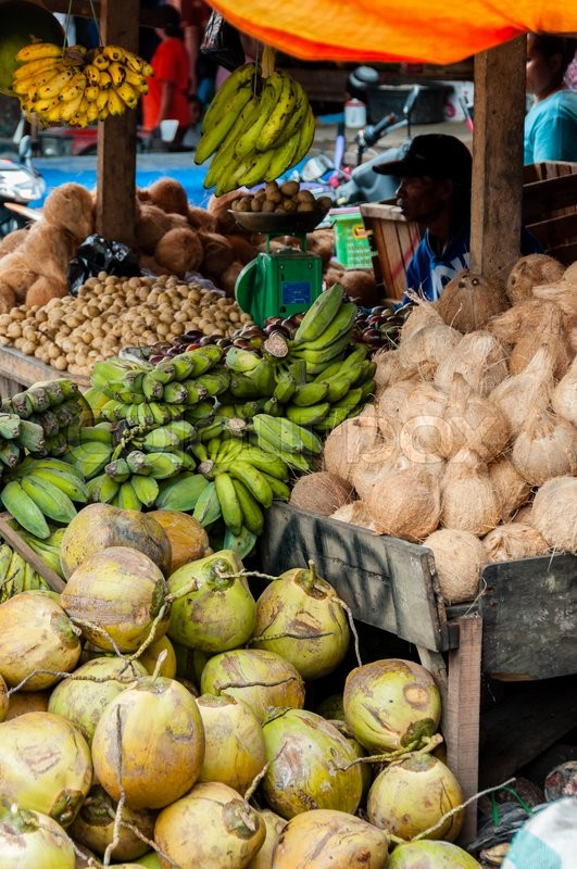 Vendor Selling Coconuts and Green Bananas at local market in Tana Toraja, Sulawesi, Indonesia, stock photo