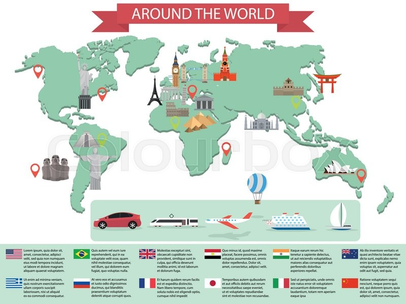 Infographic world landmarks on map kremlin eiffel big ben tower infographic world landmarks on map kremlin eiffel big ben tower bridge leaning tower great wall japan india and other places gumiabroncs Gallery