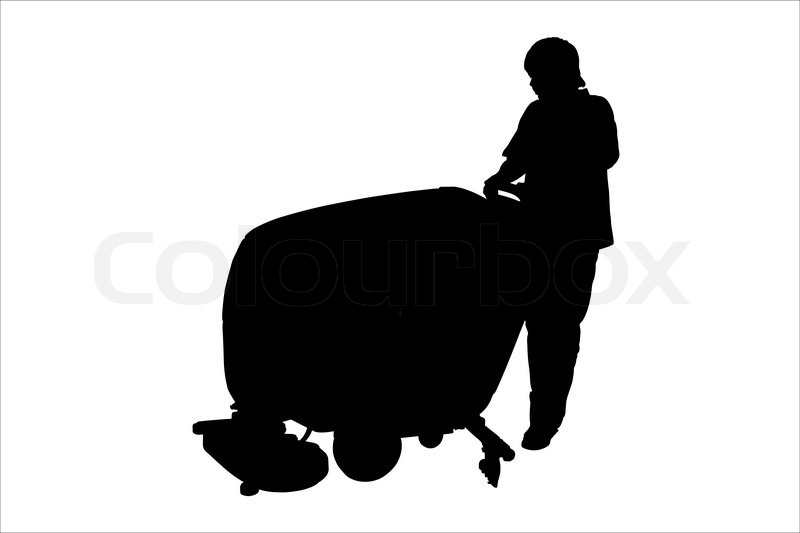 Vector Illustration Of Cleaner With Floor Buffing Machine