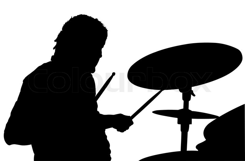 ... of percussionist black silhouette under the white background, vector White Drum Set Silhouette