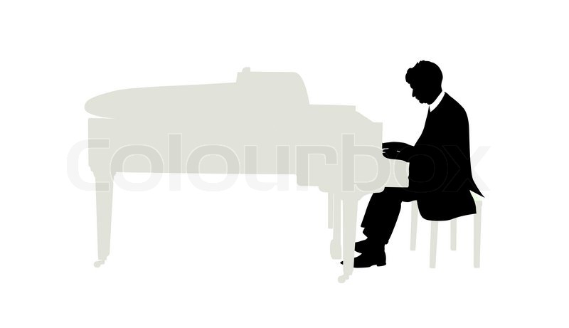Vector Illustration Of Pianist Plays On Grand Piano