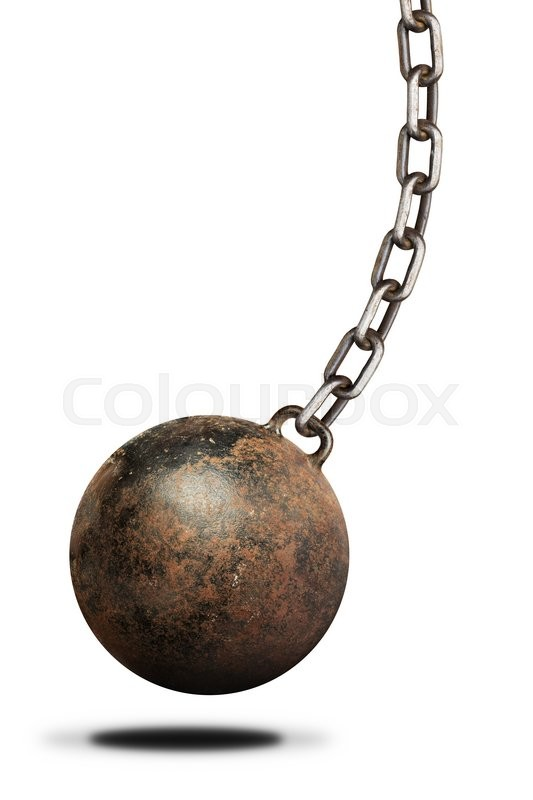 old heavy prisoner ball and chain over white background isolated