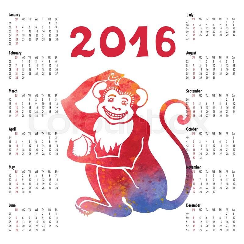 da4b34e63 Calendar 2016 with Chinese zodiac ... | Stock vector | Colourbox