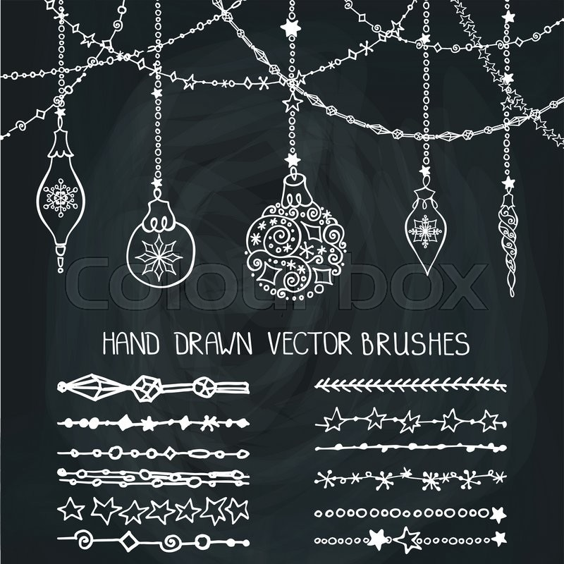 New Year Doodle Pattern Textures.Decoration Vector Set.Winter Symbols In  Line Border.Used Brushes Included.Design Template,card.Chalkboard, Vector