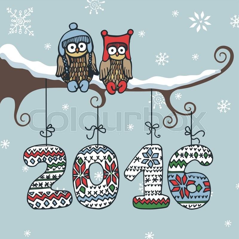 Christmas new year doodle greeting card cartoon owl couple for Wildlife christmas cards 2016