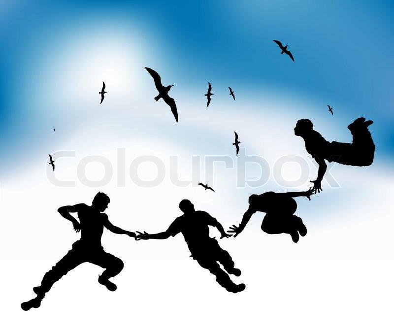 Gl ckliche freunde fliegen in den himmel schwarzen for Fliegen lebensdauer