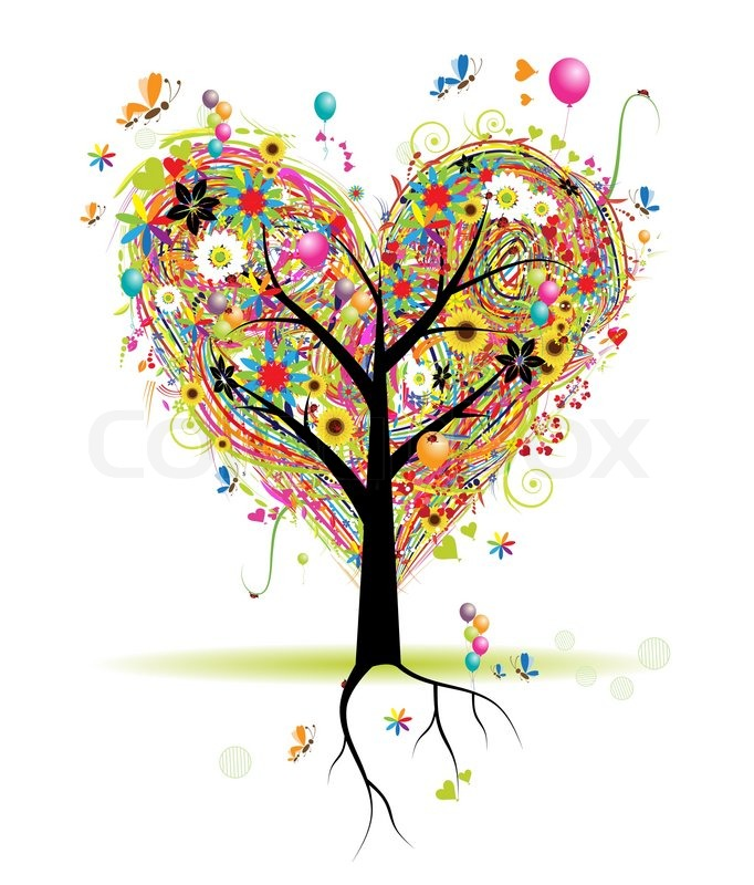 Happy Holiday Heart Shape Tree Balloons