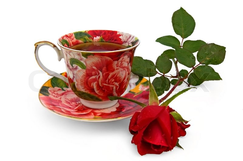 Tea In The Beautiful Colored Cup With A Rose Isolated On