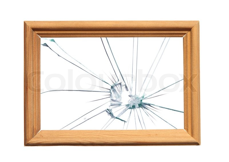 Wooden frame with broken glass for your images. Object with clipping ...