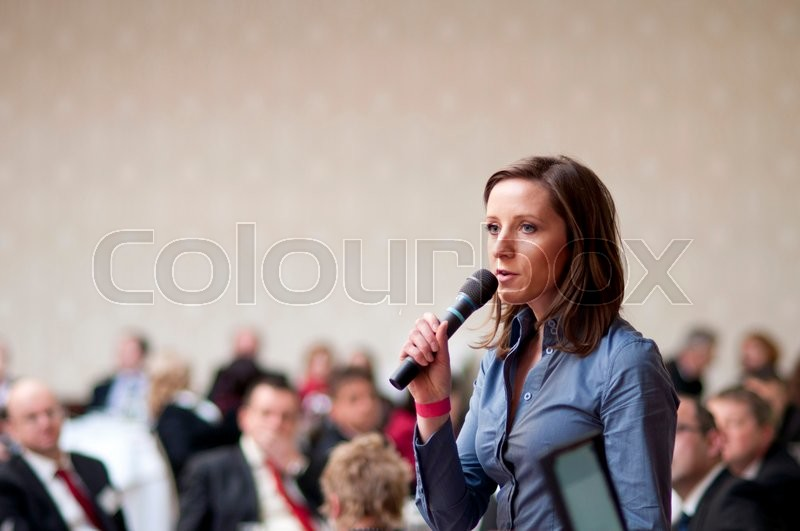 Indoor business conference for managers, stock photo