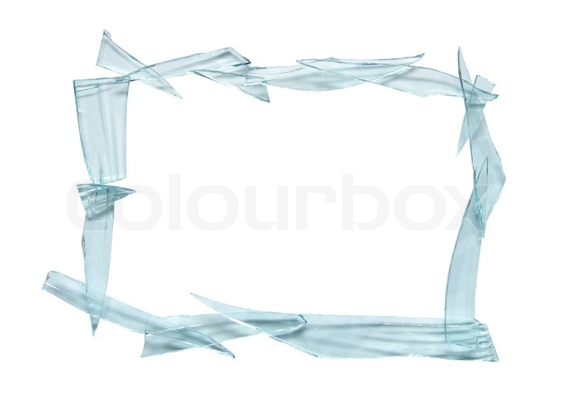 Frame made from broken glass. Isolated on white with clipping path ...