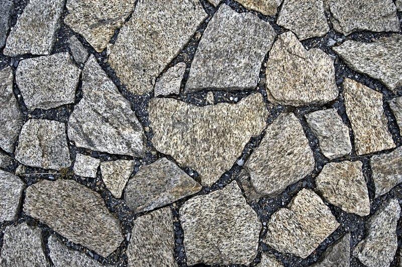 Rubble Stone Elevation Symbol : The pavement of granite blocks and black gravel texture