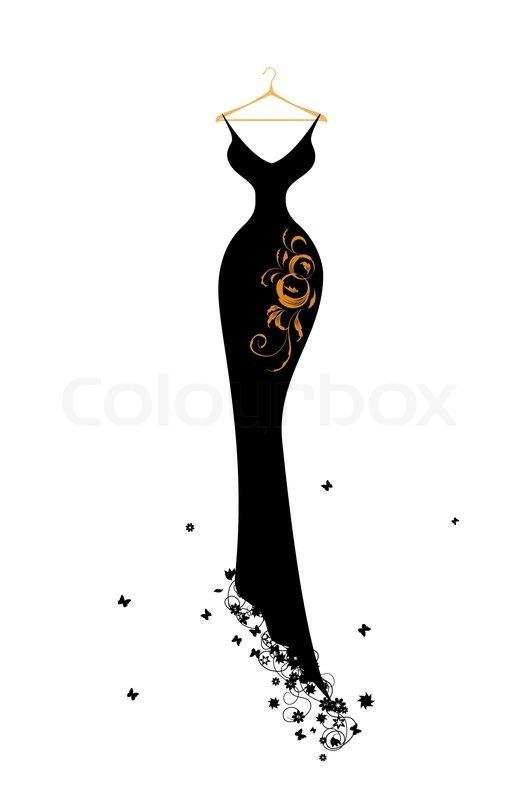silhouette dress vector stock vector colourbox