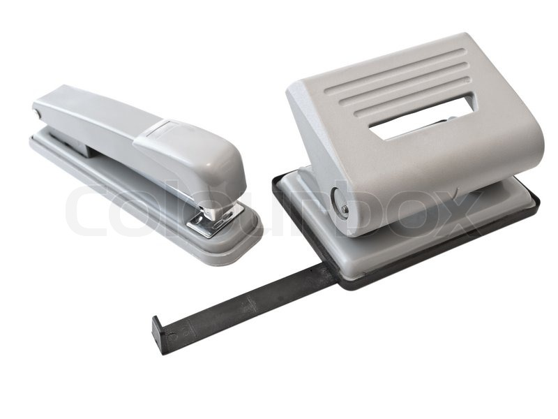 Hole puncher and stapler over the white background | Stock Photo ...