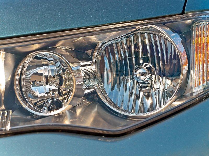 Closeup Photo Of The Modern Car Headlights