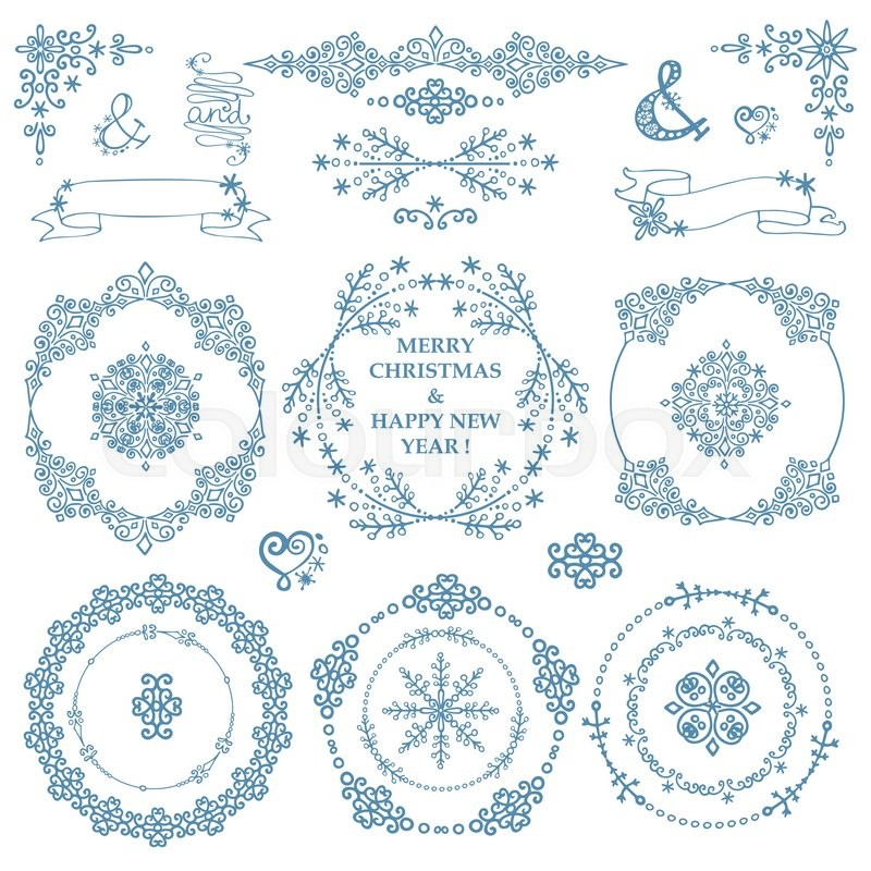 Christmas,New year decor elements set.Circle frames wreaths.Doodles ...